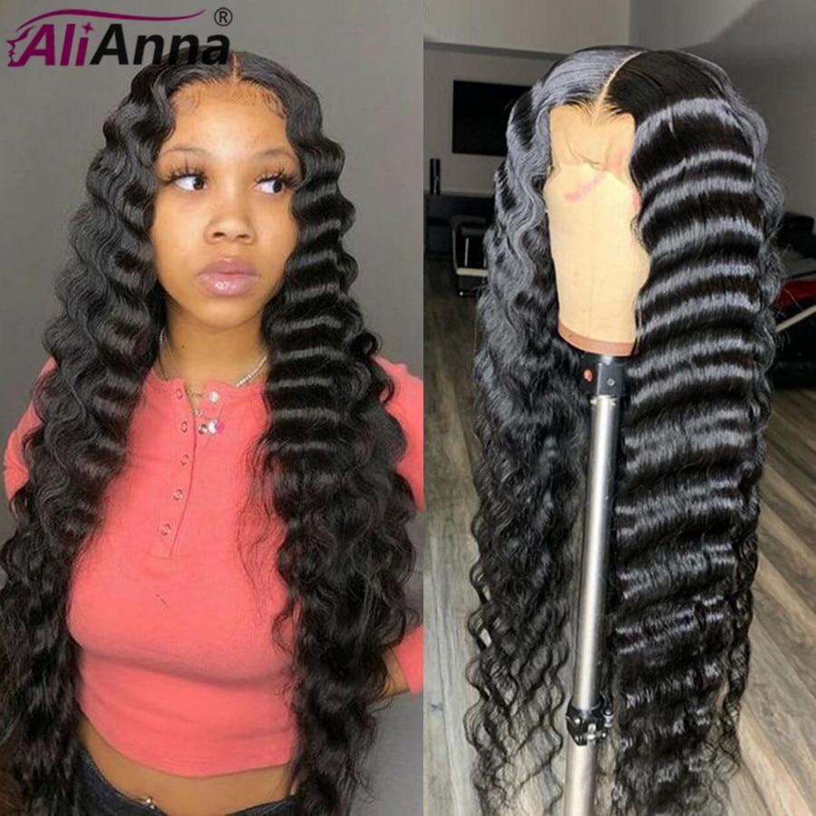 Alianna solta peruca de onda profunda 30 Polegada peruca dianteira do laço pré arrancado frente brasileira do laço perucas de cabelo humano longo 5x5 peruca de fechamento do laço