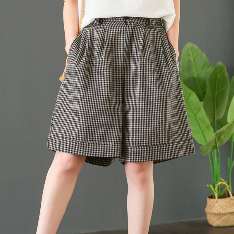 Womens Shorts Knee Length Cotton Linen Straight Big Loose Elastic Waist Plaids Retro Fashion Casual For Spring Summer BO17441519