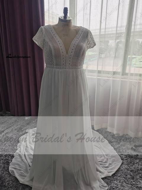 Vestidos Boho Bridal Long Sleeve Wedding Dresses A Line 2021 Robe Longue Simple Beach Chiffon Long Wedding Gowns Deep V-neck 6