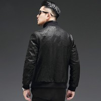 High Quality Sheepskin Slim Fit Mens Autumn Jackets Long Sleeve Zip Genuine Leather Casual Black Male Outerwear Coats Plus Size