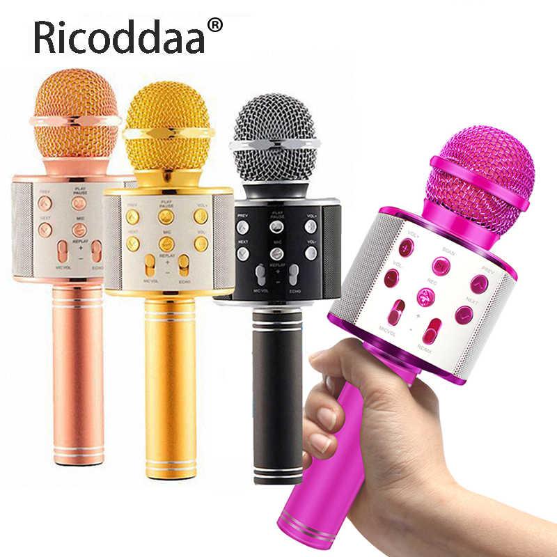Profesional Nirkabel Bluetooth Mikrofon Speaker Handheld Mini Microphone Karaoke MIC Musik Pemain Bernyanyi Recorder Mikrofon