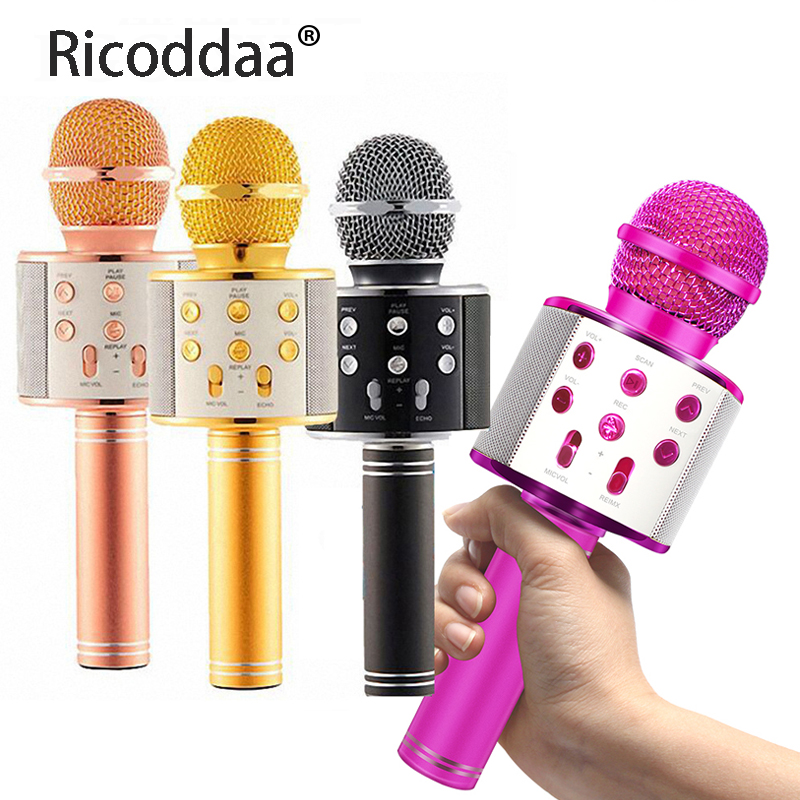 US $9.89 60% OFF|Professional Bluetooth Wireless Microphone Speaker Handheld Mini Microphone Karaoke Mic Music Player Singing Recorder Microphone|Microphones| |  - AliExpress