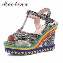 Meotina Sandals Women T-Strap Espadrille Platform Super High Heel Shoes Snake Print Peep Toe Wedge Heels Summer Size 43