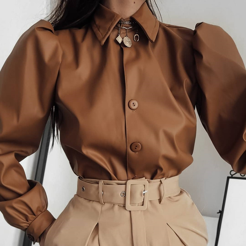 Waatfaak Autumn Leather Blouse Women Long Sleeve Puff Blouse Vintage Shirt Ladies 2019 Winter Casual Fashion Turn-down Collar