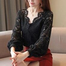 цена на Autumn blouse women 2019 ladies tops long sleeve lace solid white shirt for women tops Spliced V-Neck lantern Sleeve blusas 0261