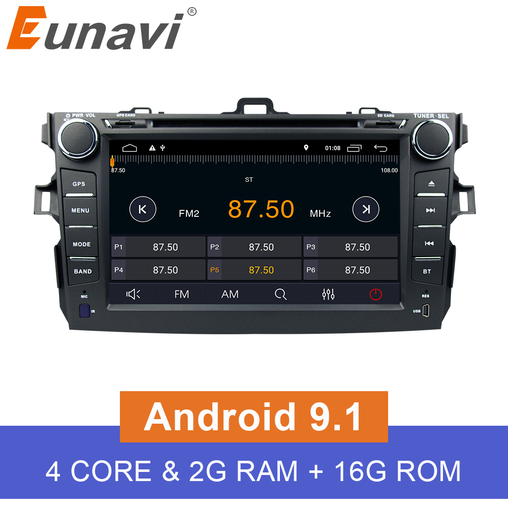 Eunavi 2 Din Android 9 1 Car Dvd Player For Toyota Corolla 2007 2008 2009 2010