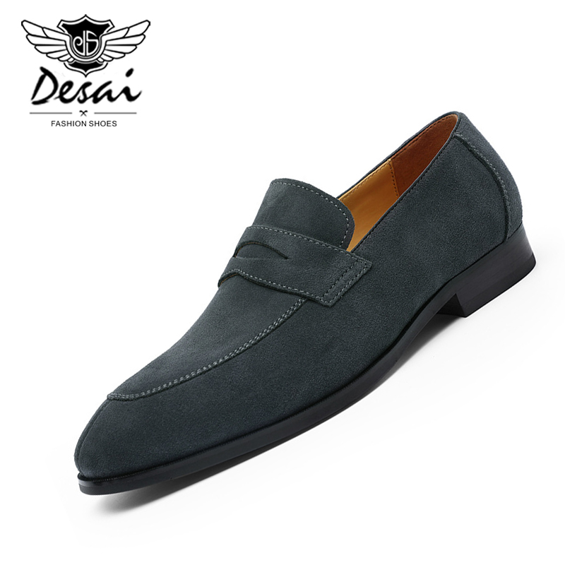 DESAI 2019 Autumn New Men's Business Dress Shoes Gentleman Cow Suede Business Casual Loafer Shoes Slip-On Oxfords Flats Shoes