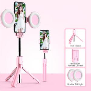 Monopod Light Extendable Selfie-Stick Led-Ring Live-Tripod Smartphone Handheld Bluetooth