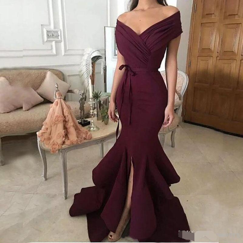 Elegant Abendkleider Burgundy Mermaid Evening Dresses 2019 Abiye Off Shoulder Split Ruffle Skirt Long Arabic Dubai Formal Dress
