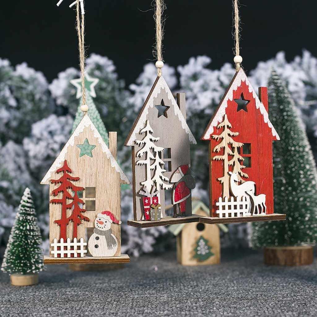 Decoraciones de Navidad para casa en forma de árbol de Navidad colgante de  madera pequeño adorno colgante árbol colgante de madera