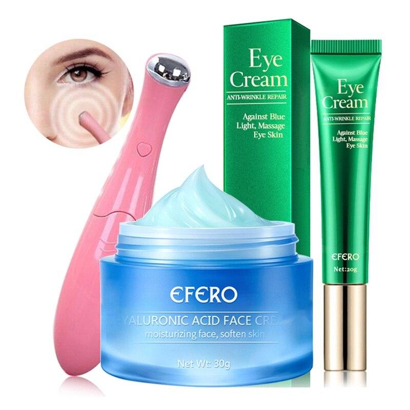 Collagen Day Cream Face Cream Hyaluronic Acid Moisturizer Anti Wrinkle Anti Aging Eye Cream Dark Circles Eye Massager Skin Care