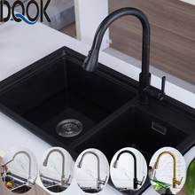 Kitchen Faucet Water-Mixer Single-Handle Blacked White Tap Pull-Down 360-Degree Brushed
