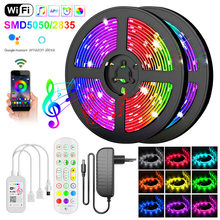 Wifi 5050 Rgb Led Strip Licht 10M 15M Luces Led Waterdichte Diode Tape 2835LED Strip Lint Adapter Led lichten Telefoon App Remote