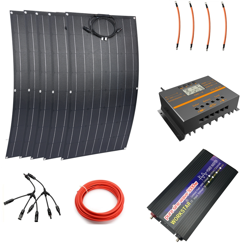 5pcs ETFE 100W Flexible <font><b>Solar</b></font> <font><b>Panels</b></font> Modules With <font><b>3000w</b></font> Pure Sine Inverter 60A Controller <font><b>Solar</b></font> Power System For Beginner image