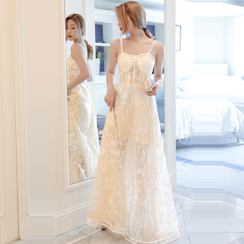Prom Dresses White Sexy Lace Vestidos De Gala Sleeveless Women Party Night Dress 2020 Plus Size Sling Boat Neck Prom Gowns E684