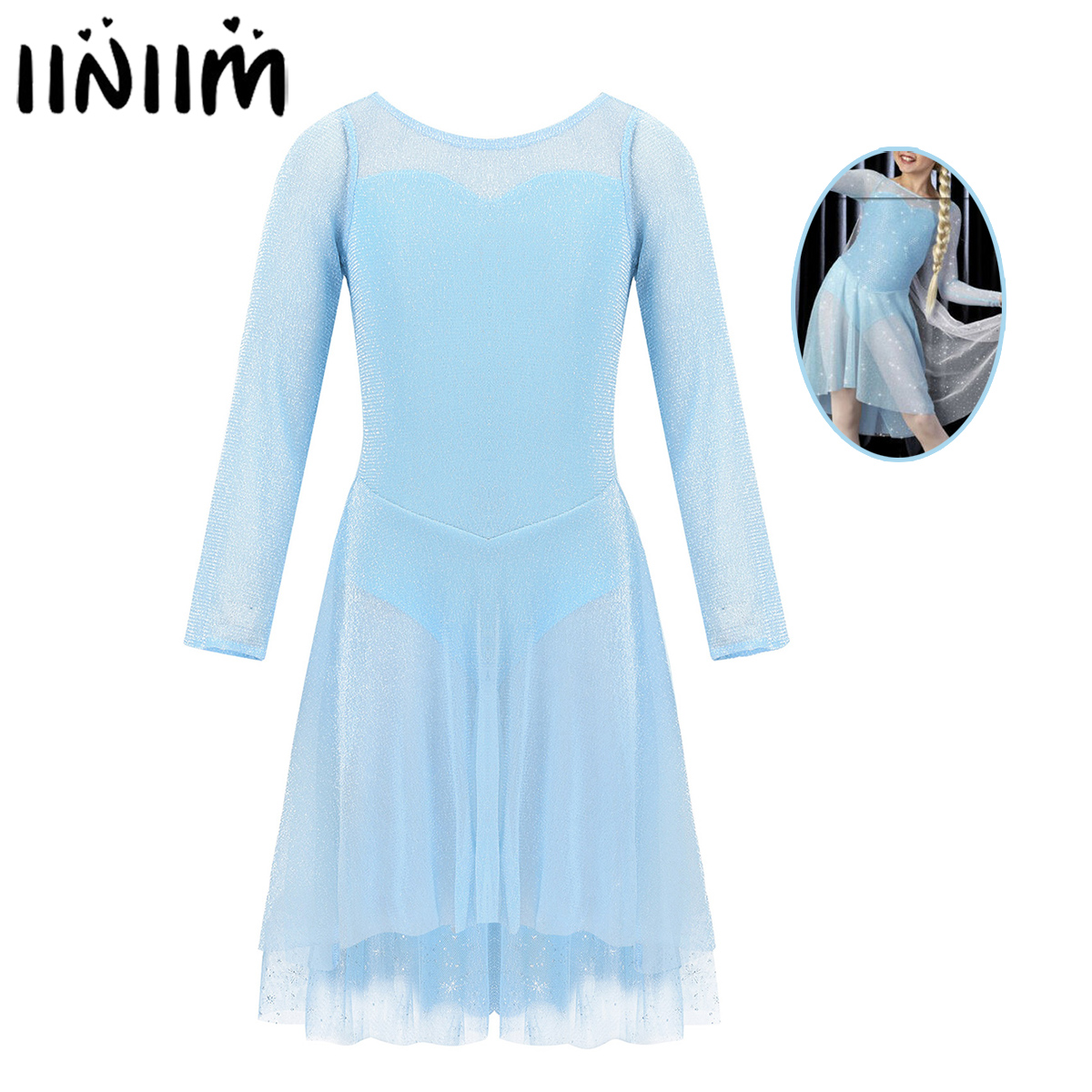 Iiniim Kids Girls Ballet Lyrical Dance Costume Sweetheart Tulle Gym Leotard Dress Attached Sparkly Snowflake Cape Dancewear