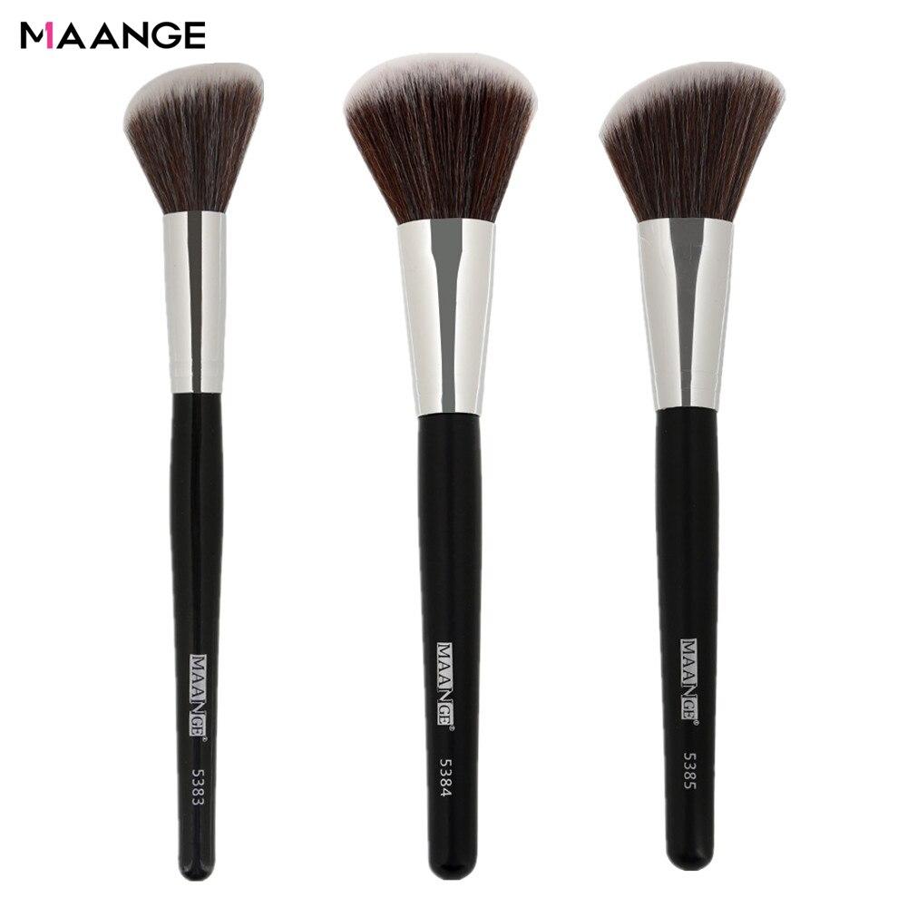 MAANGE 1Pc Angled Round Blush Makeup Brush Face Cheek Contour Blusher Nose Foundation Loose Power Cosmetic Make Up Brushes Tool