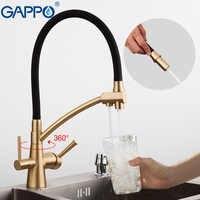 Gappo torneiras de cozinha dupla alça rotatable torneira da cozinha pull out filtro da cozinha misturador água potável