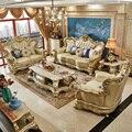 Europäische Leder Sofa Villa Luxus Große Wohnzimmer Champagner Massivholz Sofa