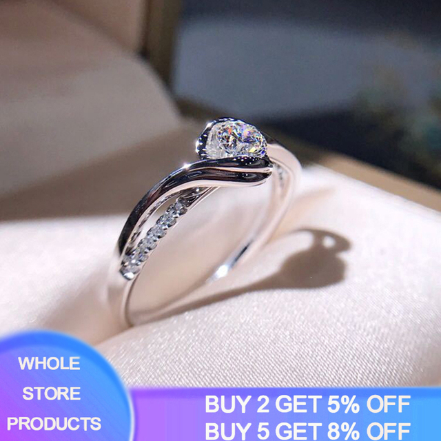 Classic Engagement Ring AAA White Cubic Zircon Female Women Super Flash Rhinestone Wedding Band CZ Rings Silver 925 Jewelry R321