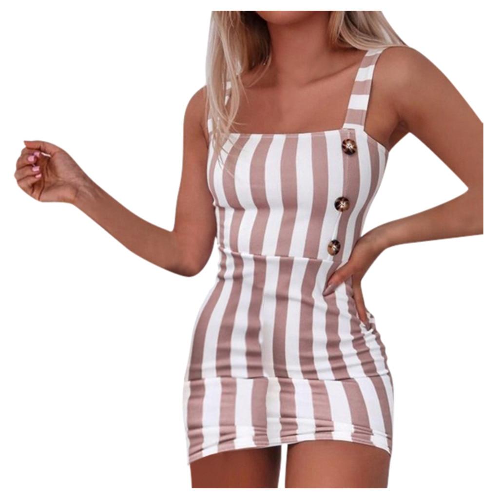 Dress Women Summer Fashion Vintage Vertical Square Neck Sleeveless Striped Mini Sexy