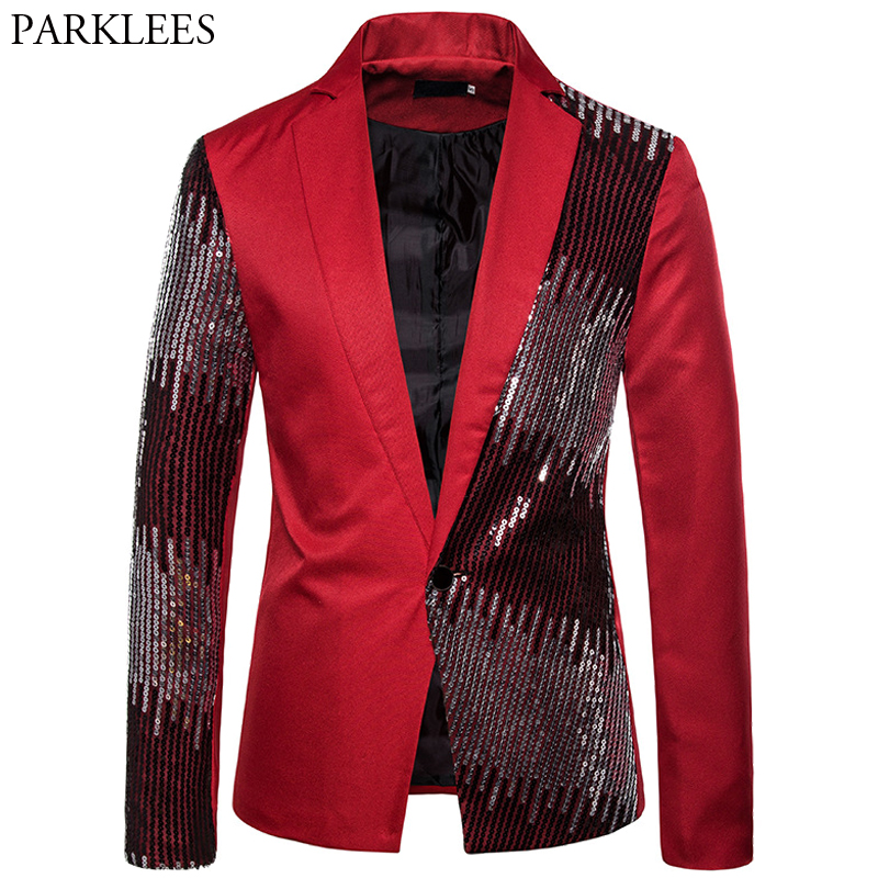 Shiny Sequin blazer Men Red Blazer Mens Splice Glitter Men Blazers Jacket Men Slim Fit Wedding Party Prom Men blazer Masculino 1