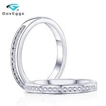 DovEggs New Arrival Solid 10K  White Gold 1.4mm GH Color Moissanite Half Eternity Wedding Band For Women