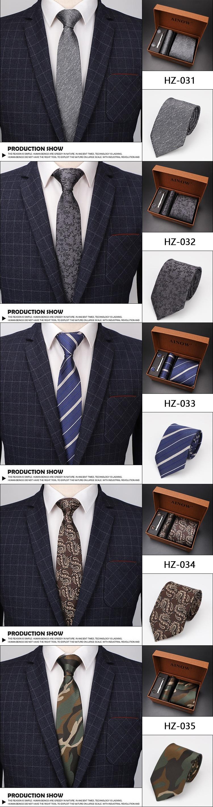 Набор галстуков 4 шт. мужской цветочный галстук для шеи клетчатый галстук подарок свадебный красный полосатый 8 см темно-синий жаккардовый тканый черный однотонный Камуфляжный ящик