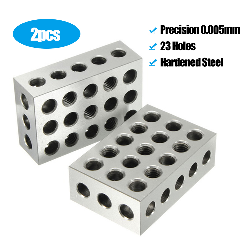 2Pcs 25x50x75mm Hardened Steel Blocks 23 Holes Parallel Clamping Block Lathe Tools Precision 0.005mm For Machine Tool