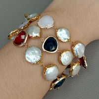 8 3 Rows Cultured White Coin Pearl Golden Plated Crystal Connector Bracelet