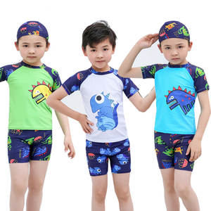 Kids Swimwear Split Boys Swimsuit Cartoon Dinosaur Swimming Trunks Set Children Water Sport UPF50+ Beachwear Baby Bathing Suit