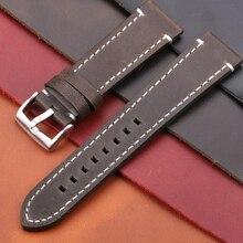 купить Cowhide Watchband 18 20 22 24mm Vintage Genuine Leather Replacement Watch Band Strap With Bruhsed Stainless Steel Buckle по цене 512.58 рублей