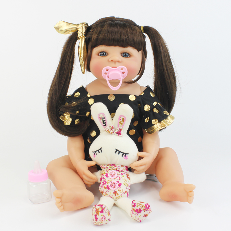 55cm Full Silicone Reborn Baby Doll Toy Like Real Vinyl Newborn Alive Bebe Babies Doll Girl Brinquedos Play House Bathe Toy