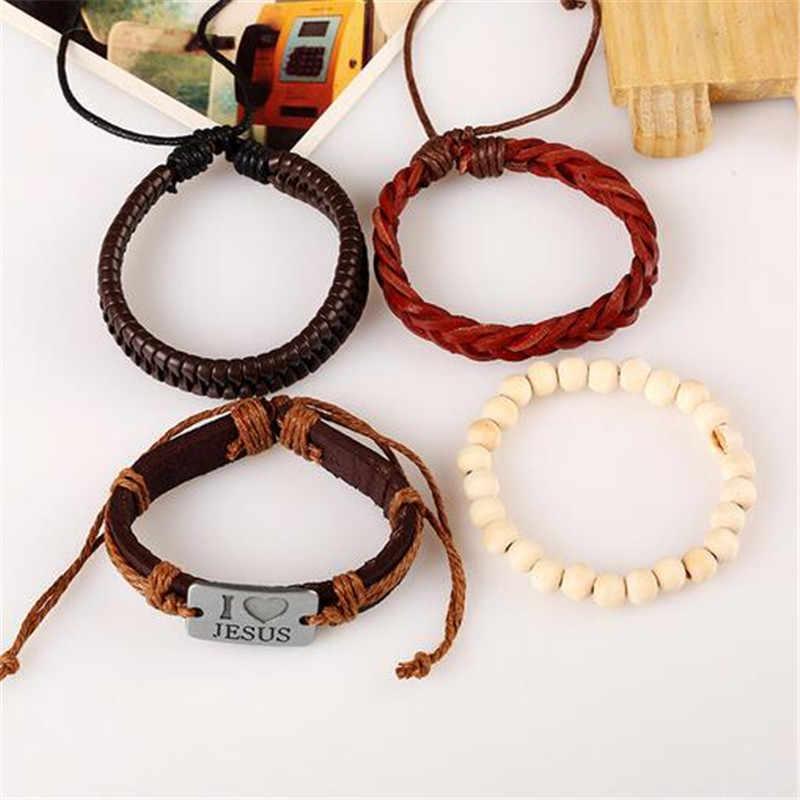 2019 nowy projekt wielowarstwowe ręcznie pleciona bransoletka z prawdziwej skóry i bransoletka dla mężczyzn 4 sztuk/zestaw modna bransoletka bransoletki prezenty
