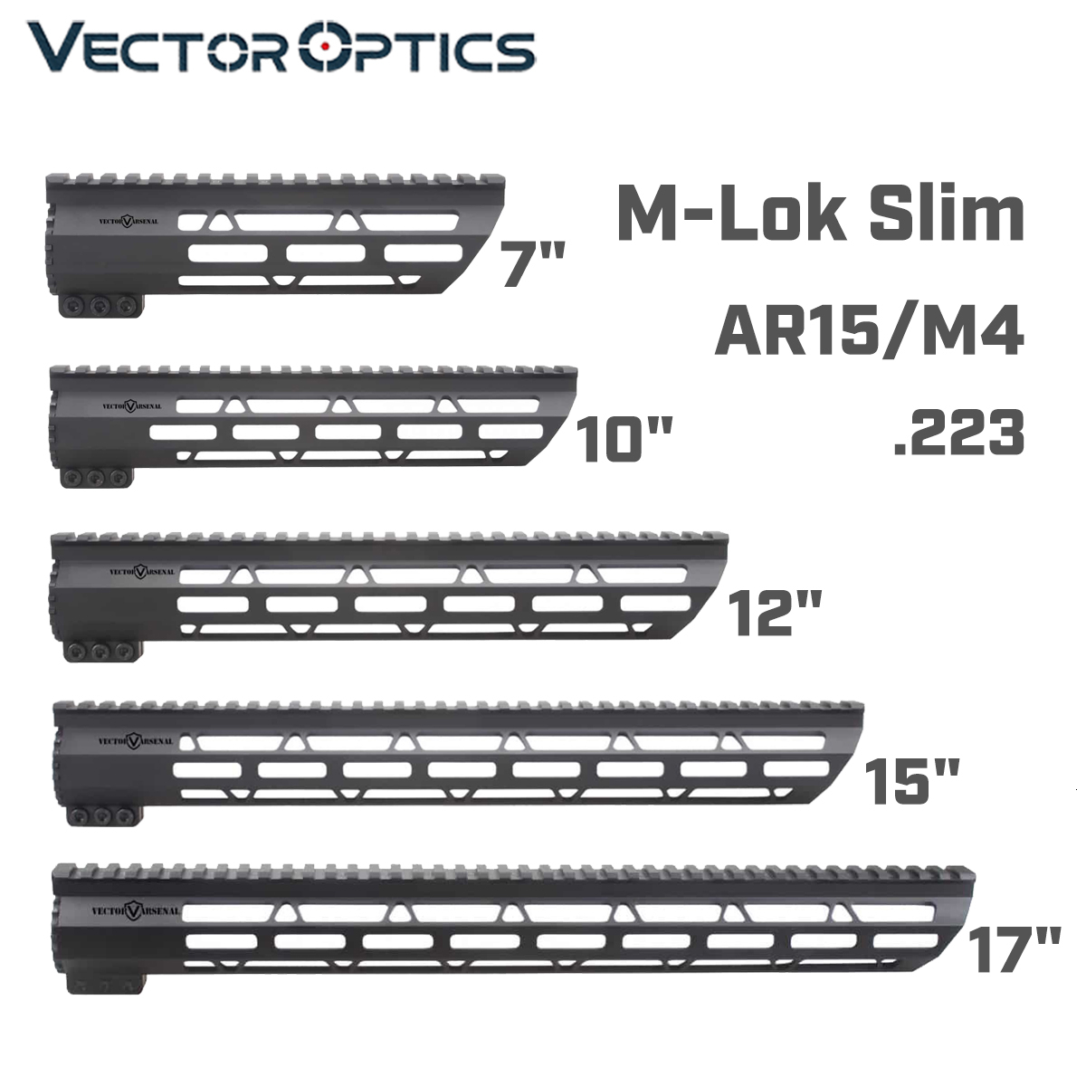 Tactical AR-15 M4 M-LOK MLOK 7 10 12 15 17 inch Slim Free Float Handguard Picatinny Rail Mount Bracket fit .223 5.56 AR15 M16(China)