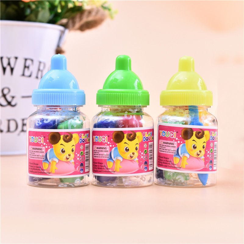 Baby Toys Clay Toy <font><b>Slime</b></font> Fluffy Mud Transparent Kids Intelligent Hand Plasticine Mud bottle <font><b>barrel</b></font> plasticine image