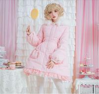 Gothic outwear girl loli cos white duck down kawaii clothing Japanese lolita down jacket sweet lace pockets fur collar Coat