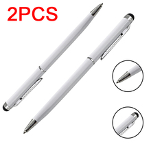 2pcs 2 in 1 Stainless Steel Capacitive Touch Screen Stylus Ball Point Pen for iphone Samsung Xiaomi Huawei Lenovo Tablet Phone