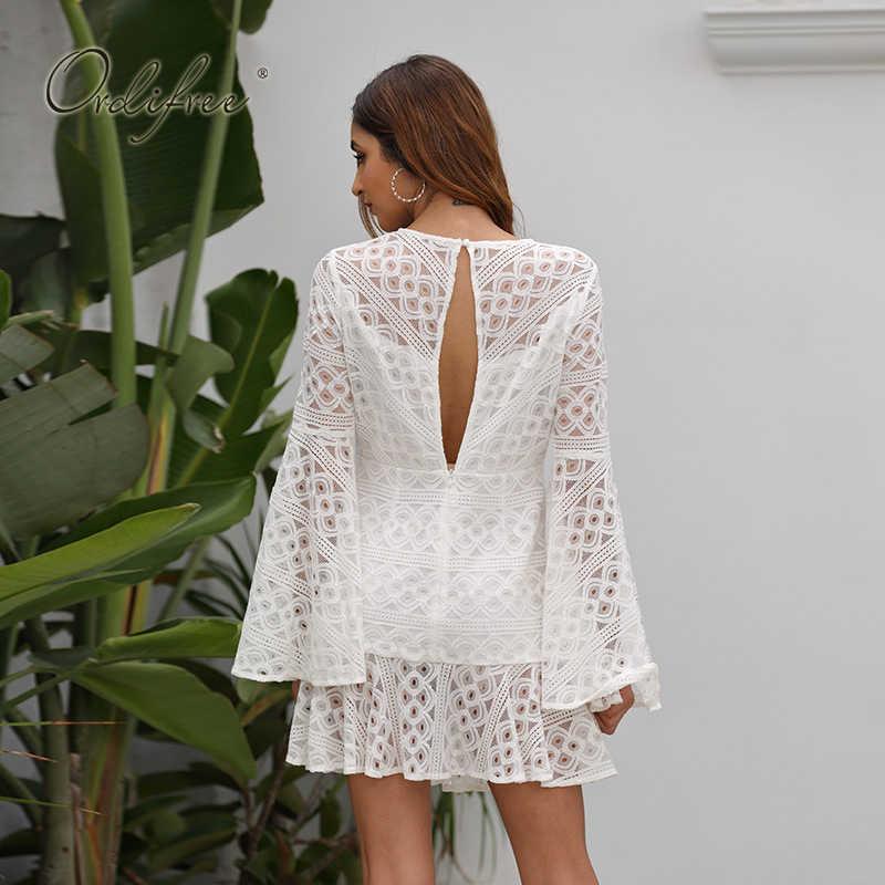 Ordifree 2020 Новое поступление женское кружевное мини-платье белая кружевная короткая Туника пляжное платье праздничная одежда
