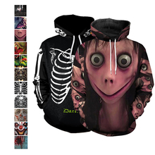 Scary Monster Halloween Costume Women Hoodie Funny Ghost Skinny Long Sleeve 3D Print Clown Cosplay Men Pumpkin Sweater Unisex