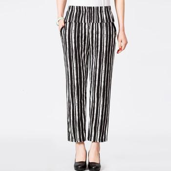 Spring Summer Middle Aged Women Casual Striped Pants Pantalon Femme High Waist  Ankle-Length Harem Trousers Plus Size 4XL Pants & Capris