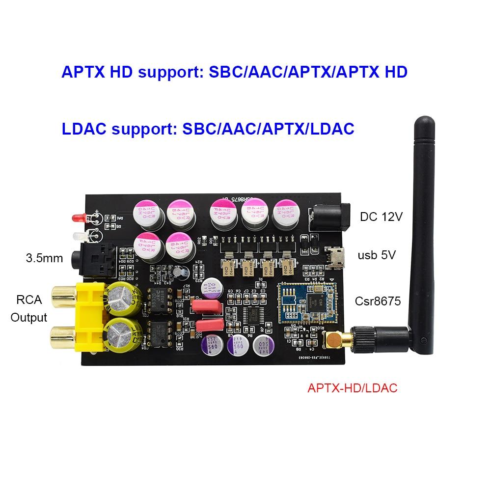 cheapest Lusya Csr8675 Bluetooth 5 0 Wireless Receiver APTX HD LDAC PCM5102A DAC Decoding 3 5mm RCA Output 24bit With Antenna