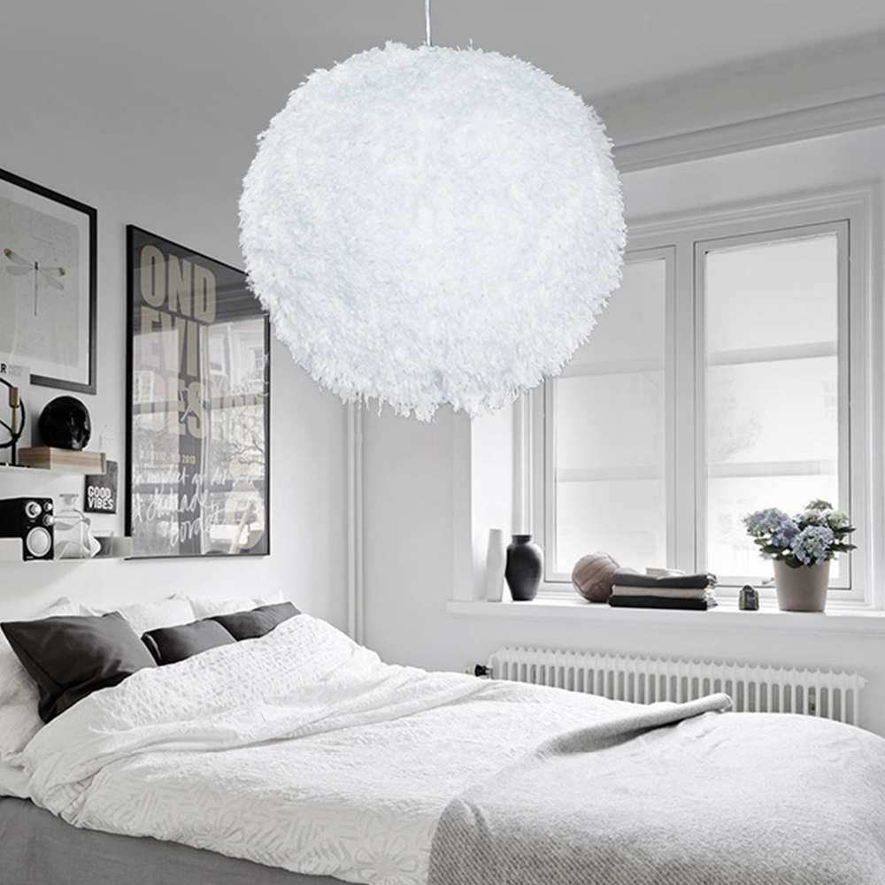 E27 Modern Luxury Feather Droplight Ceiling Lamp Absorb Dome Light Feather Chandelier Flush Mount For Living Room White/Pink