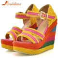 KARINLUNA 2020 Trendy Brand New Ladies 2020 Summer High Wedges Sandals Colorful High Platform Sandals Women Cane Shoes Woman
