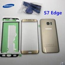 Capa traseira para bateria s7 +, cobertura traseira para porta de vidro + tela lcd touch screen, lente exterior para samsung galaxy s7 edge g935 g935f g935fd