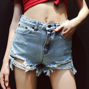 Womens Sexy Mid Rise Shorts Raw Hem Ripped Denim Jean Shorts 2020 Wild Shorts Split-cut Hole-cut Raw Denim Shorts Plus Size raw hem geo pattern crop sweater