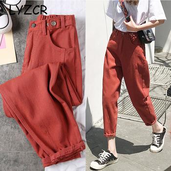 Białe spodnie jeansowe damskie wiosna 2020 czarne chłopięce jeansy damskie luźne szarawary dżinsowe spodnie dżinsowe spodnie letnie damskie jeansy tanie i dobre opinie LYZCR COTTON Poliester Kostki długości spodnie Osób w wieku 18-35 lat 7J321 WOMEN Na co dzień Zmiękczania Wysoka Zipper fly