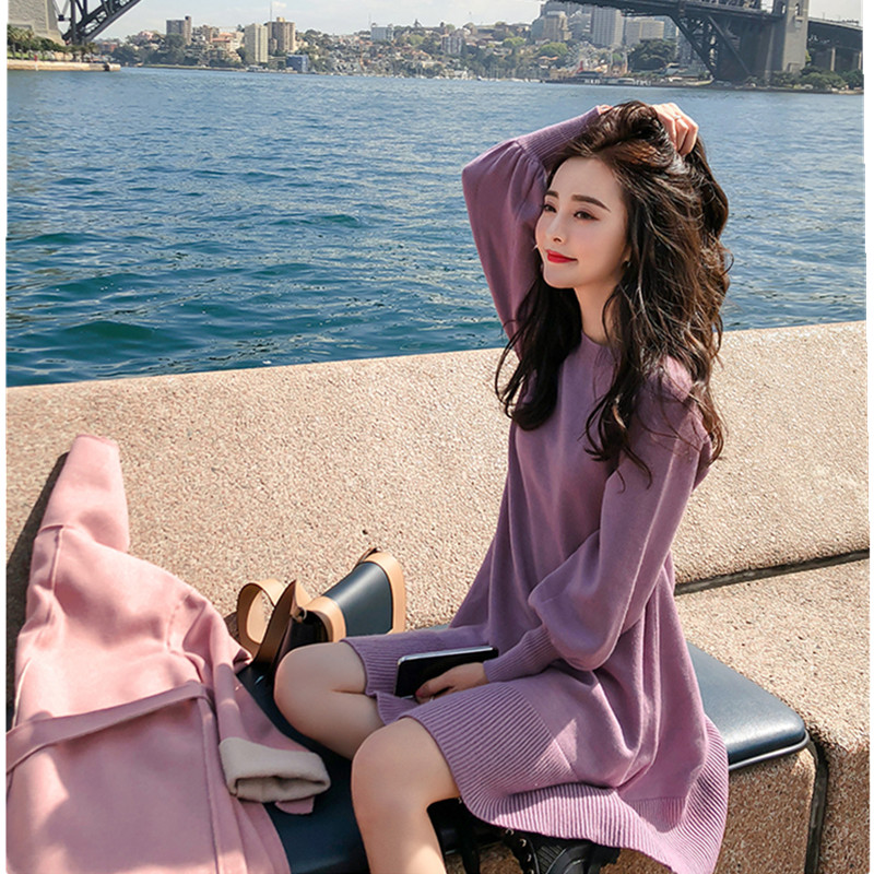New Spring Korea Dress Women Knitting Oversize Autumn Midi Dress Lantern sleeve Fashion Sweater Dresses 23