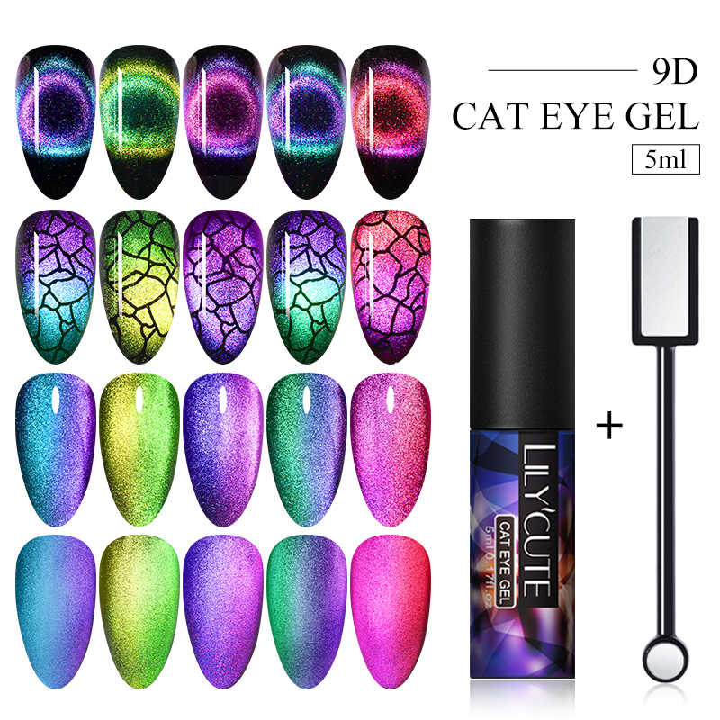 LILYCUTE 9D Cat Eye Nail Gel Chameleon Magnetic Rendam Off UV Gel Nail Varnish Semi Permanen Gel Varnish 2 buah/Set