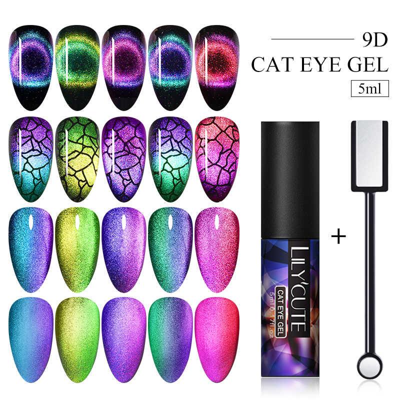 LILYCUTE 9D Cat Eye Nail Gel Chameleon Magnetic Rendam Off UV Gel Nail Varnish Semi Permanen Gel Varnish 2 buah/Set
